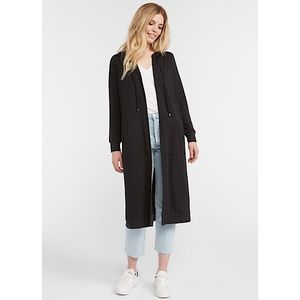 Cyrus Hooded French Terry Duster Open Front Cardi